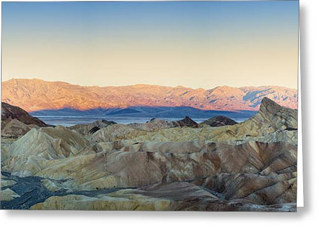 Panamint Valley Greeting Cards - Zabriskie Point Panorana Greeting Card by Jane Rix