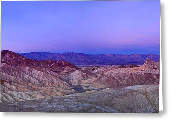 Mound Greeting Cards - Zabriskie Sunrise Panorama - Death Valley National Park. Greeting Card by Jamie Pham