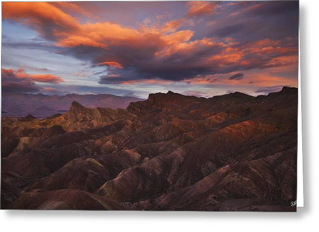 Panamint Valley Greeting Cards - Zabriskies Fireworks Greeting Card by Peter Coskun
