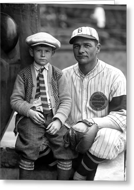 Picture Hat Greeting Cards - Zachariah D. Zack Wheat with boy Greeting Card by Retro Images Archive