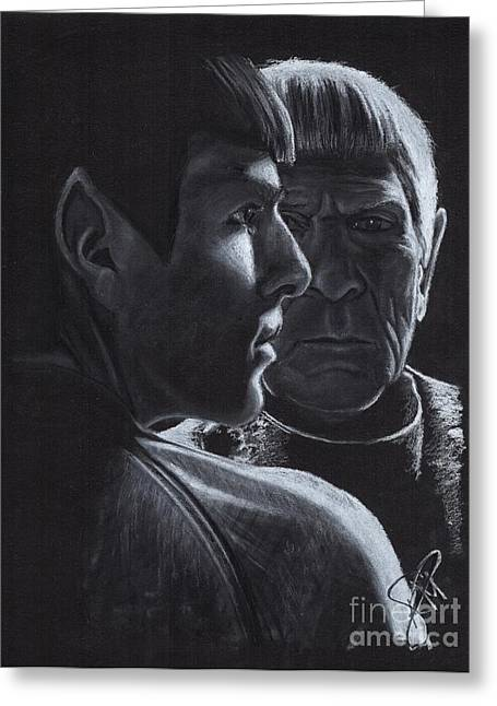 Charcoal Portrait Greeting Cards - Zachary Quinto and Leonard Nimoy Greeting Card by Rosalinda Markle