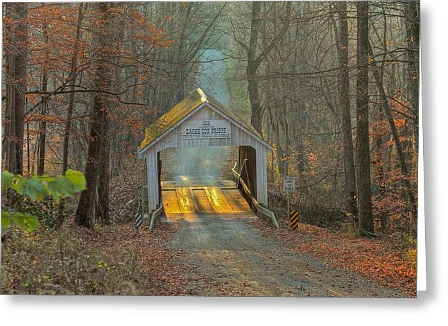 Covered Bridge Greeting Cards - Zacke Cox Covered Bridge Greeting Card by Jack R Perry