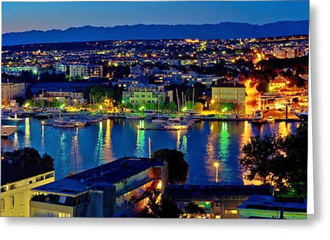 Sailboats Docked Greeting Cards - Zadar harbor bay night panorama Greeting Card by Dalibor Brlek