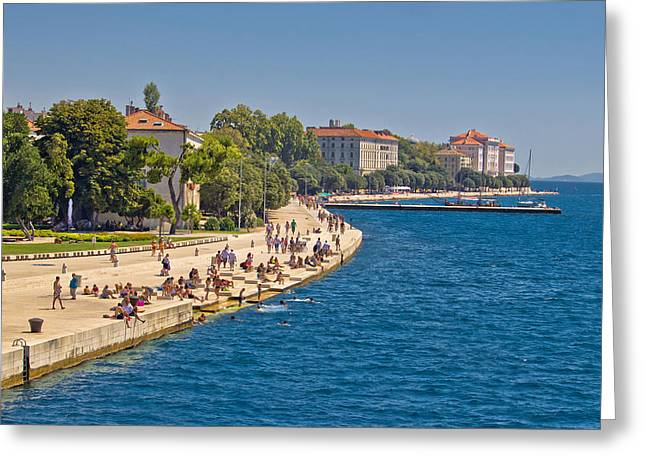 Blue Green Wave Greeting Cards - Zadar Riva waterfront view in Dalmatia Greeting Card by Dalibor Brlek