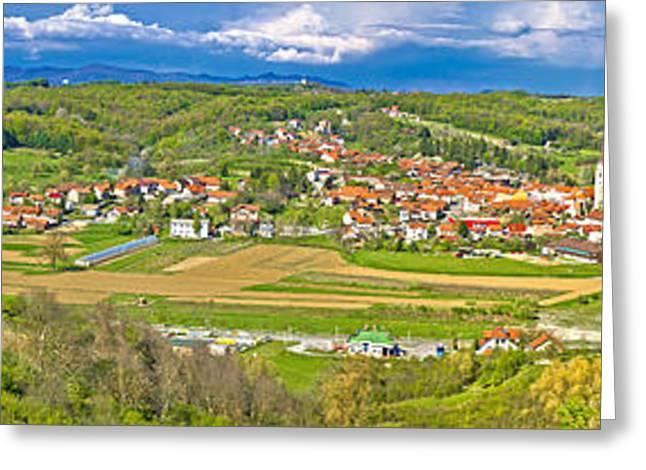 Bistrica Greeting Cards - Zagorje green hills mega panorama Greeting Card by Dalibor Brlek