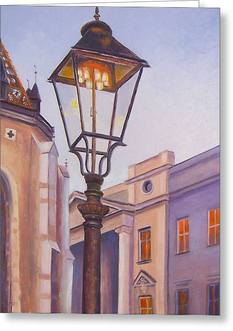 Evening Scenes Greeting Cards - Zagreb Gaslight - Croatia Greeting Card by Jan Matson