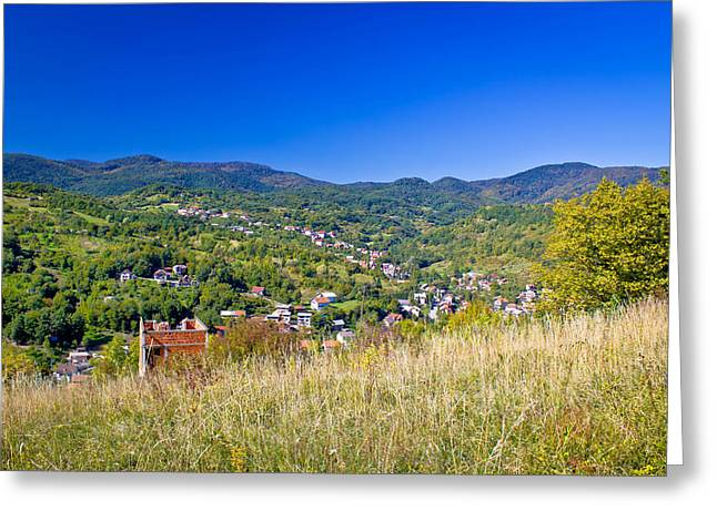 Zagreb hillside green zone nature Greeting Card by Dalibor Brlek