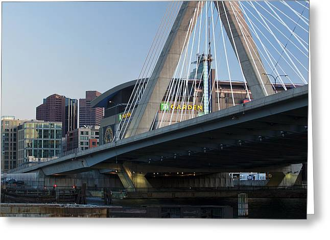 Charles River Greeting Cards - Zakim and the Garden Greeting Card by Eric Gendron