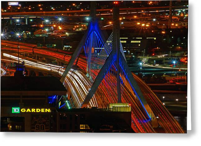 Td Bank Garden Greeting Cards - Zakim Bridge 03 Greeting Card by Jeff Stallard