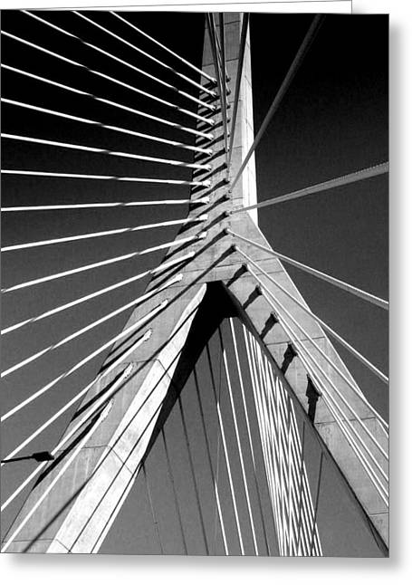 Zakim Bridge 2 Black And White Greeting Card by Mary Bedy