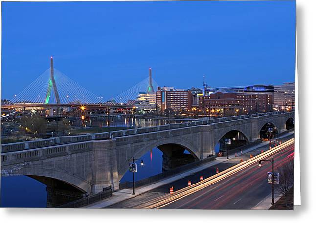 Td Bank Garden Greeting Cards - Zakim Bridge and TD Garden Greeting Card by Juergen Roth