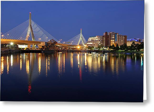 Td Bank Garden Greeting Cards - Zakim Bridge in Boston Greeting Card by Juergen Roth