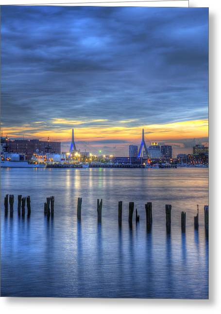 Night Scenes Greeting Cards - Zakim Bridge Sunset 3 Greeting Card by Joann Vitali