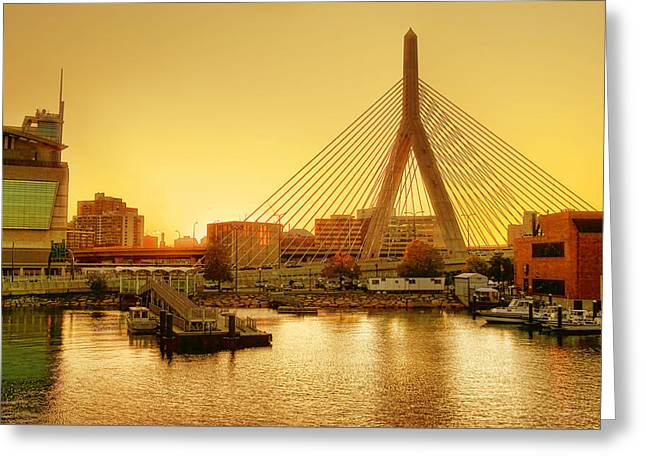 Charles River Greeting Cards - Zakim Bridge Sunset Greeting Card by Nikolyn McDonald