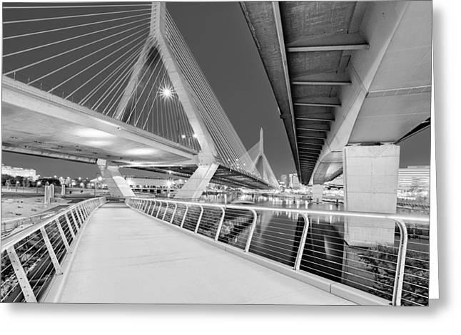 Bunker Hill Greeting Cards - Zakim Bridge Twilight In Boston BW Greeting Card by Susan Candelario