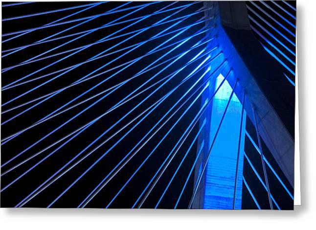 Massachusetts Bridges Greeting Cards - Zakim in Blue - Boston Greeting Card by Joann Vitali