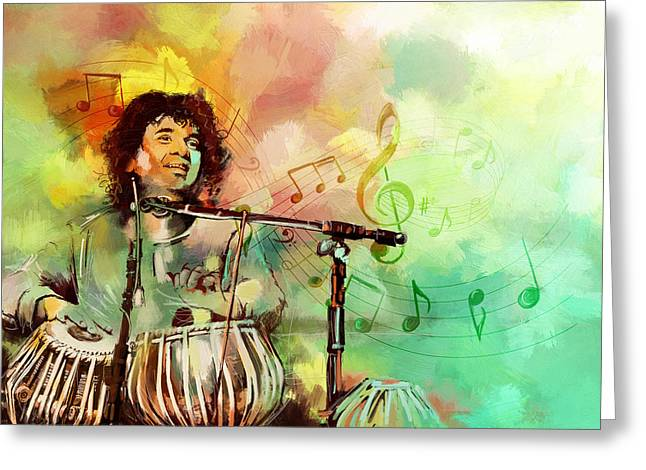 Mohammad Paintings Greeting Cards - Zakir Hussain Greeting Card by Catf