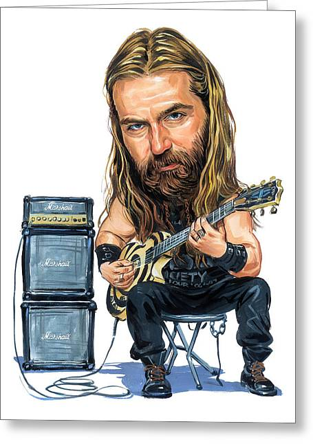 Labelled Greeting Cards - Zakk Wylde Greeting Card by Art