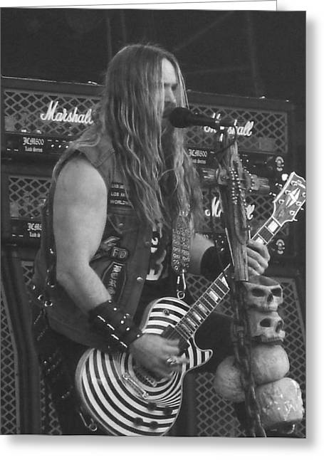 Rock Concerts Pyrography Greeting Cards - Zakk Wylde Greeting Card by Manik Designs