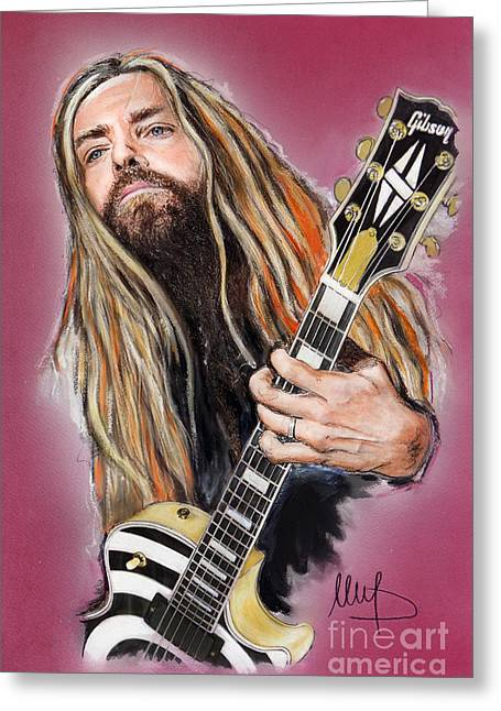 Labelled Mixed Media Greeting Cards - Zakk Wylde Greeting Card by Melanie D
