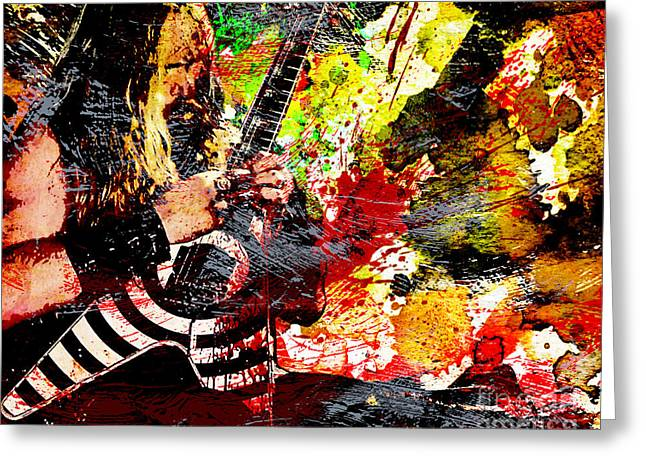 Metal Art Greeting Cards - Zakk Wylde - Ozzy Osbourne - Horizontal Art Print Greeting Card by Ryan RockChromatic