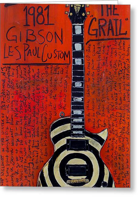 The Les Paul Guitar Greeting Cards - Zakk Wyldes Les Paul The Grail Greeting Card by Karl Haglund