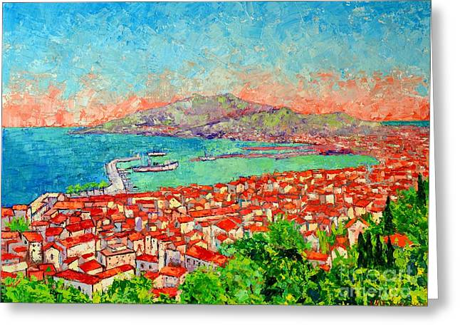 The Houses Greeting Cards - Zakynthos Sunset Light View From Bohali Hill Greeting Card by Ana Maria Edulescu