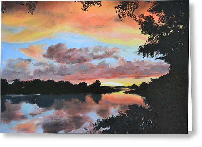Zambezi River Greeting Cards - Zambezi River Reflections Greeting Card by Mike Paget