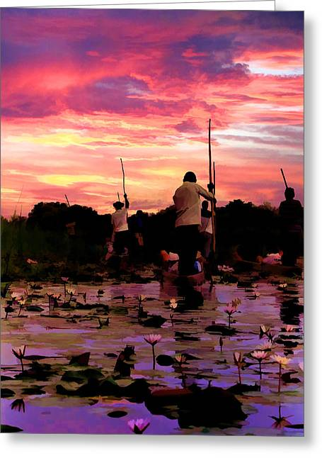 Zambezi River Greeting Cards - Zambezi River Sunset Greeting Card by Douglas Barnard