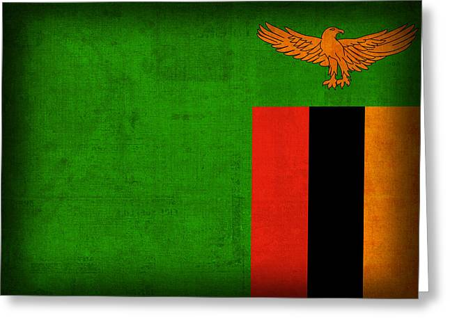 Zambia Flag Distressed Vintage Finish Greeting Card by Design Turnpike