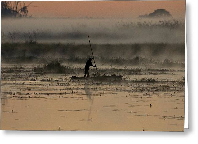Dug Out Greeting Cards - Zambian Canoe Greeting Card by Martin Michael Pflaum