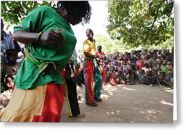 Zambian Theatre Group Performance Greeting Card by Matthew Oldfield