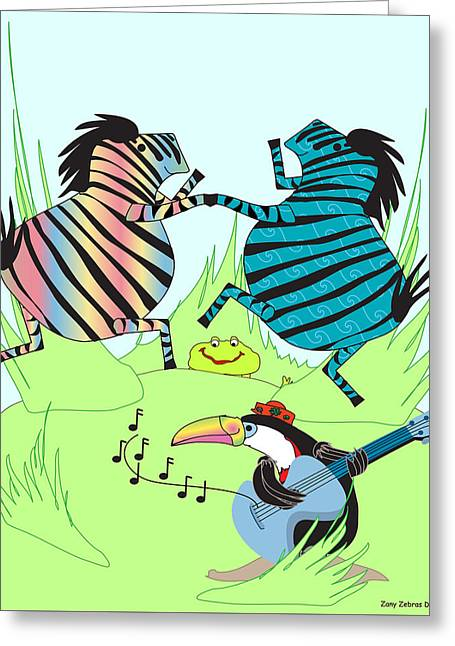 Huckleberry Digital Art Greeting Cards - Zany Zebras Dance Greeting Card by Chris Morningforest