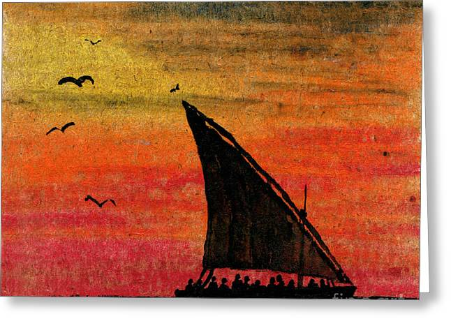 Yellow Sailboats Greeting Cards - Zanzibar Rapid Transport Greeting Card by R Kyllo