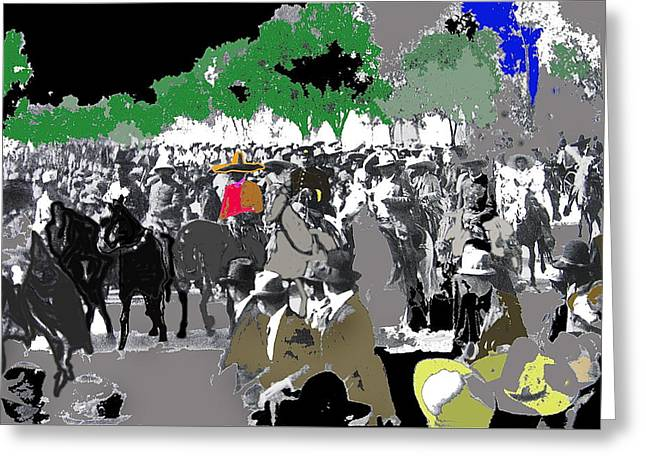 Zapata Greeting Cards - Zapata and Villas triumphant entry into Mexico City December 6 1914-2014  Greeting Card by David Lee Guss