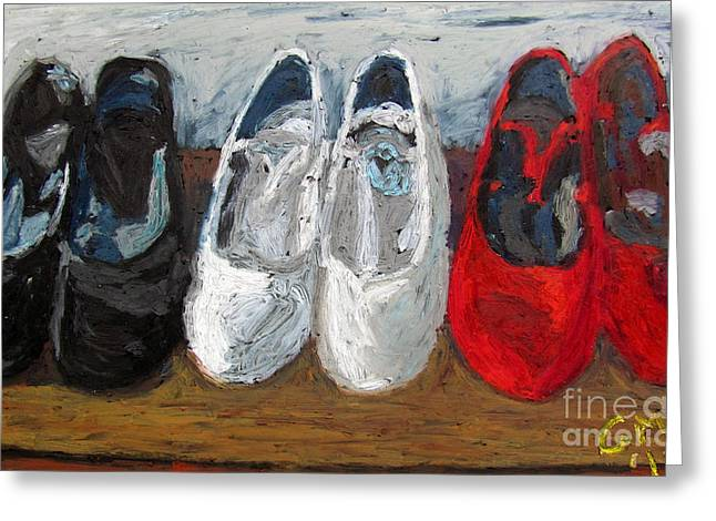 Expressionist Pastels Greeting Cards - Zapatos de Flamenco Greeting Card by Greg Mason Burns