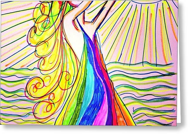 Best Sellers Drawings Greeting Cards - Zarya Greeting Card by Alesya Cabral