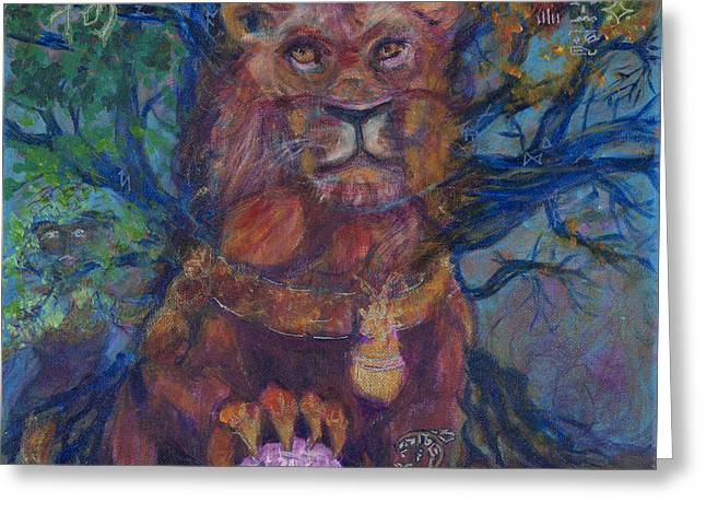 Mayan Dog Greeting Cards - Zayda Zodiac Greeting Card by Angie Bray-Widner