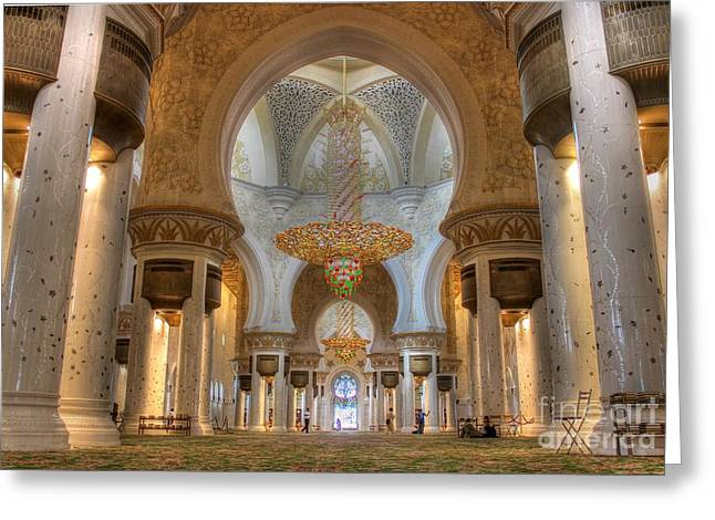 Islamic Greeting Cards - Zayed Grand Mosque Interior Greeting Card by Omar Dakhane