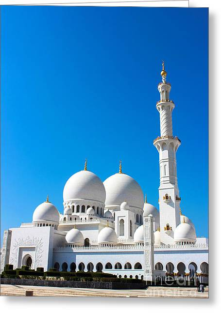 Islamic Greeting Cards - Zayed Grand Mosque Greeting Card by Omar Dakhane