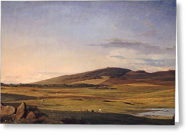 Johan Greeting Cards - Zealand Landscape. View from Bjerreso Mark towards Vejrhoj and Dragsholm Manor Greeting Card by Johan Thomas Lundbye