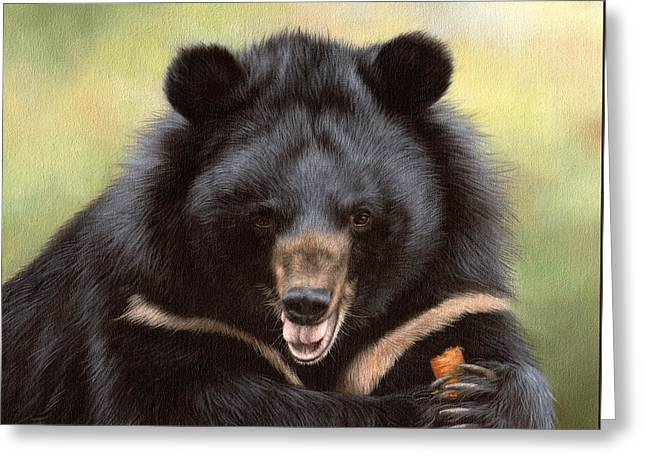Asiatic Greeting Cards - Zebedee Moon Bear - In Support of Animals Asia Greeting Card by Rachel Stribbling