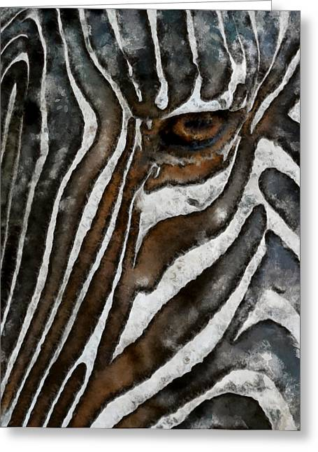 Zebra Face Greeting Cards - Zebra Abstract Greeting Card by Ernie Echols