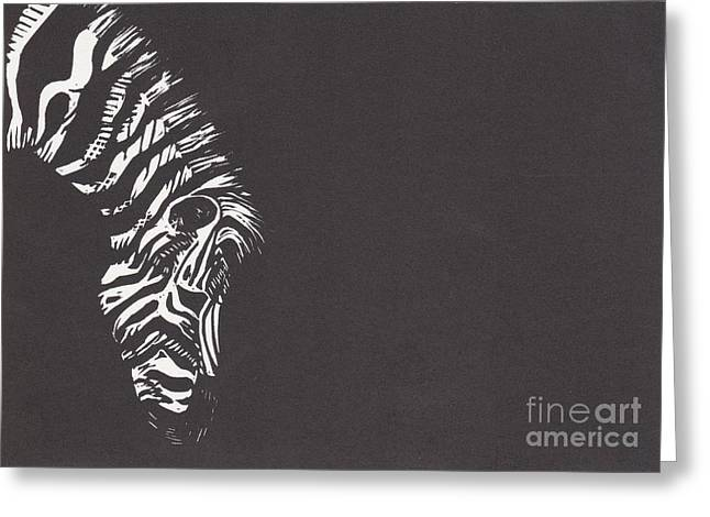 Lino Mixed Media Greeting Cards - Zebra Greeting Card by Alexis Sobecky