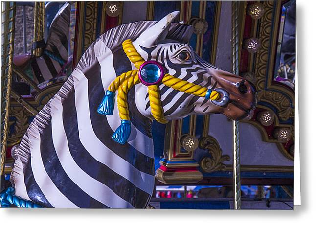 Amusements Greeting Cards - Zebra Amusement  Ride Greeting Card by Garry Gay
