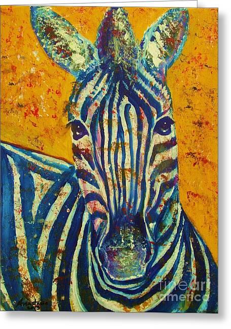 Napa Drawings Greeting Cards - Zebra Greeting Card by Anastasis  Anastasi