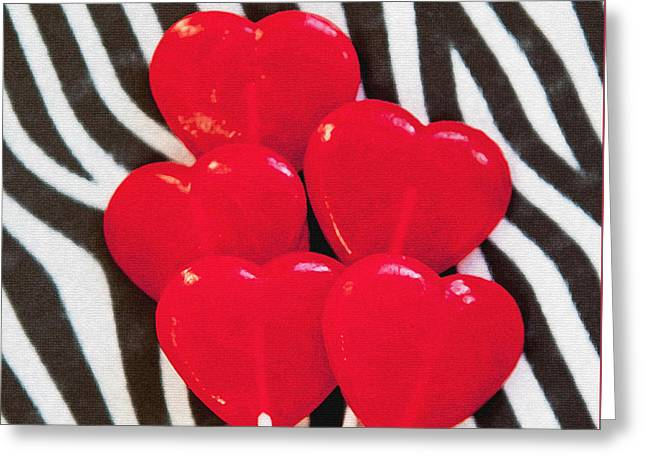 United Together Greeting Cards - Zebra and Hearts Greeting Card by Art Block Collections