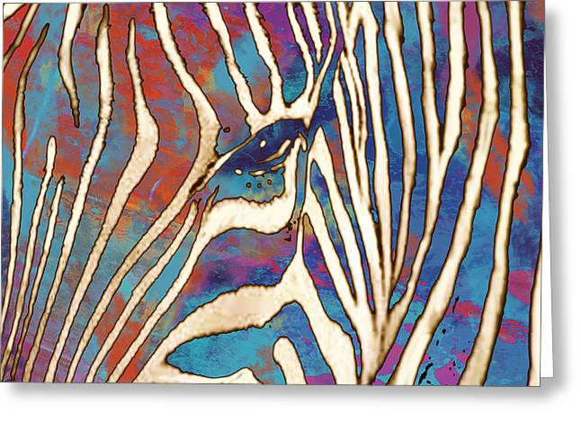 Pop Mixed Media Greeting Cards - Zebra art - 1 stylised drawing art poster Greeting Card by Kim Wang