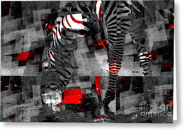 Zebra Art - 56a Greeting Card by Variance Collections