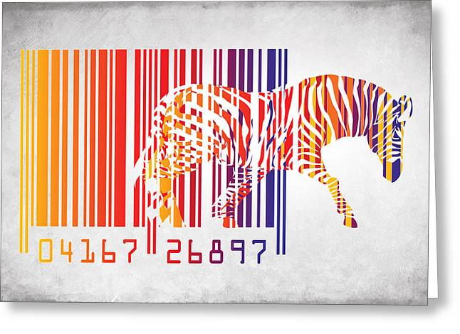 Zebra Barcode Greeting Card by Mark Ashkenazi